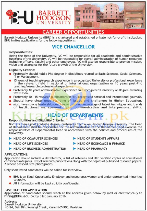 Barrett Hodgson University Karachi Jobs December 2015 Eligibility Criteria Application Form Download Dates