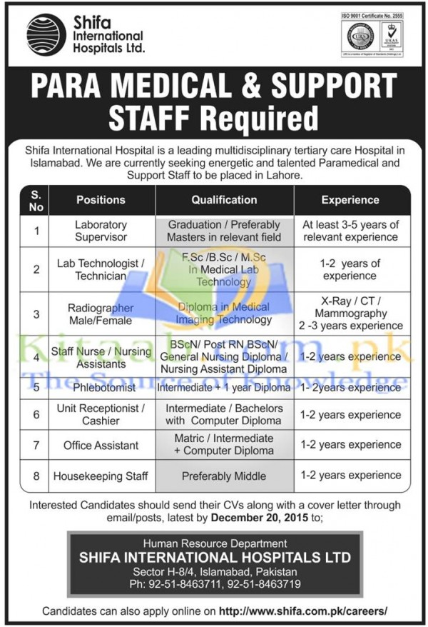Shifa International Hospital Lahore Staff Jobs 2015-16 Dates of Submission Application Form Eligibility