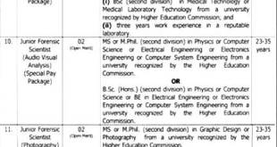 Punjab Forensic Science Agency PFSA Jobs 2021 Application Form Eligibility Dates and Schedule