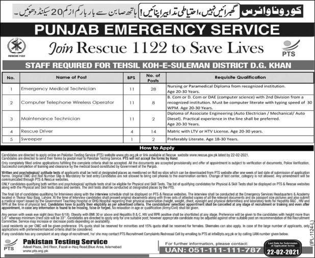 Punjab Rescue 1122 Jobs 2021 Test Registration Form Lists of Candidates