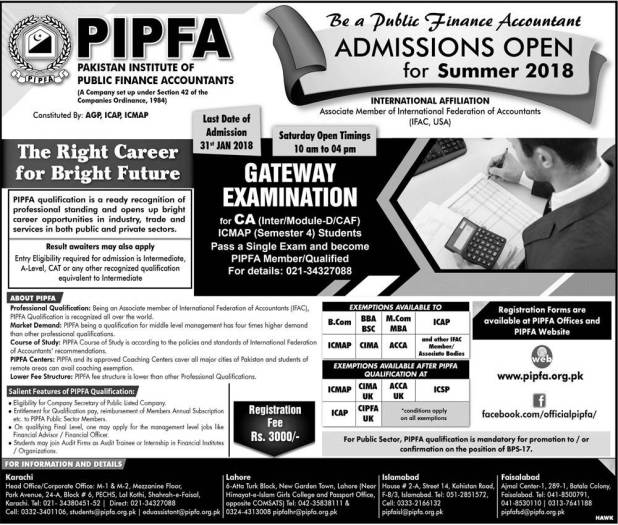 Pakistan Institute Of Public Finance Accounts PIPFA Admissions 2018 Applications Forms Eligibility Criteria & Last Date