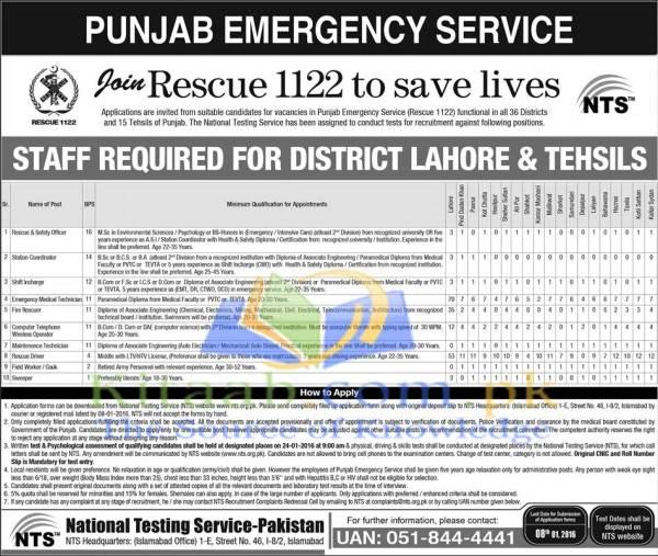 Punjab Rescue 1122 Jobs 2019 Test Registration Form Lists of Candidates