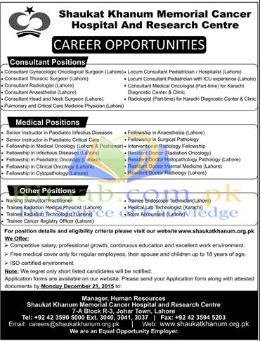 Shaukat Khanum Memorial Hospital Jobs 2015 Dates of Registration Form Submission and Eligibility Criteria