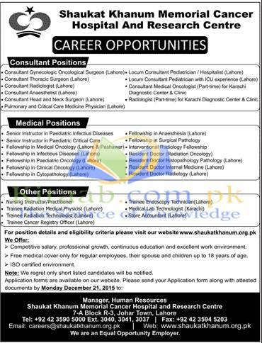 Shaukat Khanum Memorial Hospital Jobs 2015 Dates of