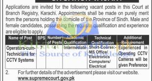 Jobs in Supreme Court of Pakistan Jobs December 2021-16 for Technicians CCTV Operator Eligibility Criteria Form Dates