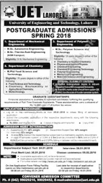 University of Engineering and Technology UET Lahore Admission 2018 Eligibility Criteria Form Download