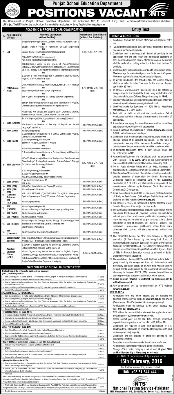 Educators Jobs 2016 NTS Application Form Download Punjab District Wise Allocation