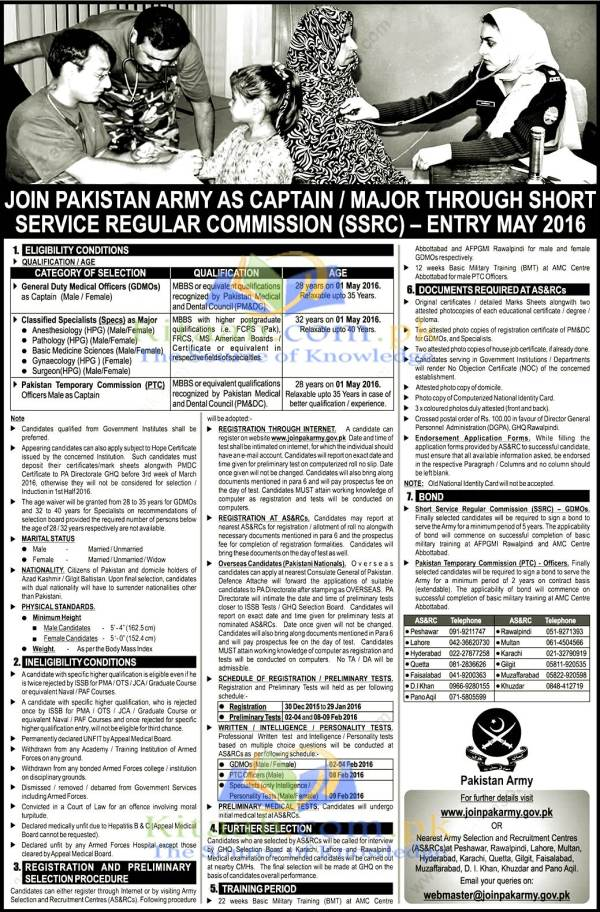 Join Pakistan Army as GDMO Specialist Through Short Service Regular Commission Jobs 2016 Registration Online
