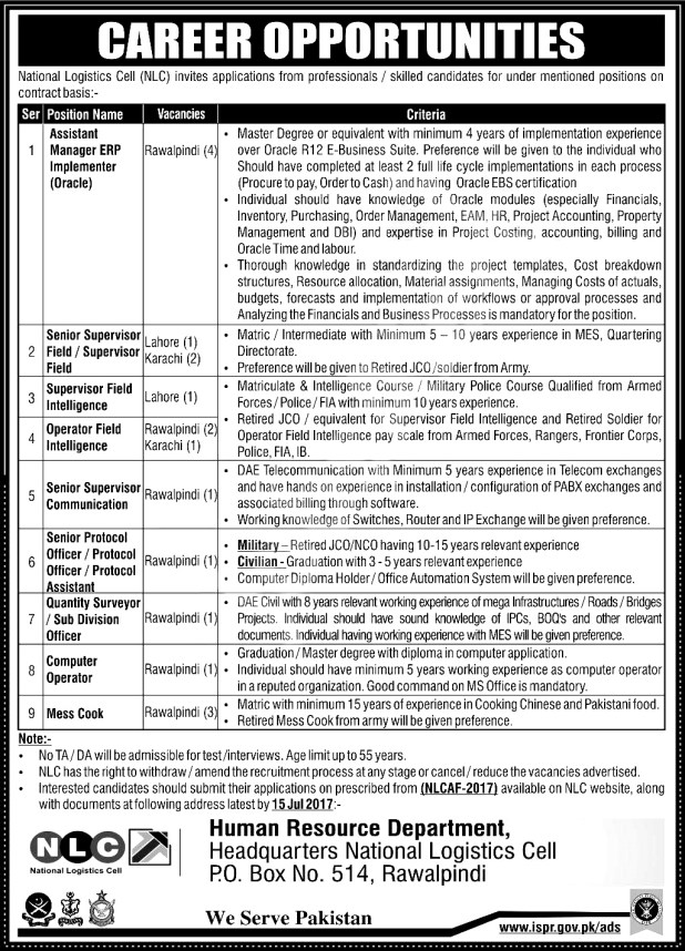 National Logistics Cell NLC Jobs July 2017 Application Form Dates and Eligibility Criteria