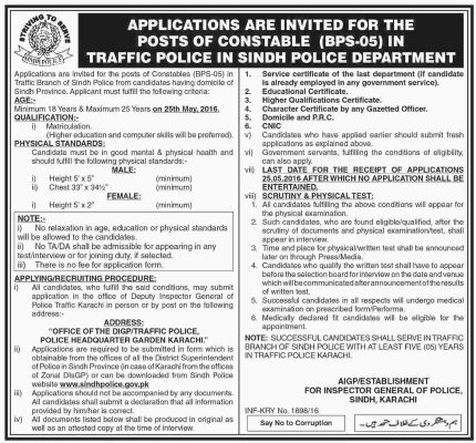 Sindh Traffic Police Constable Jobs 2016 Male Female Application Form Eligibility Criteria Dates and Schedule