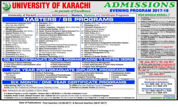 Karachi University MA MSc Admission Notice 2017 Registration Schedule Eligibility Criteria Last Date