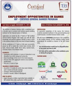 TIS IBP Certified General Banker Program 2016-17 Online Application Form Eligibility Date How to Apply