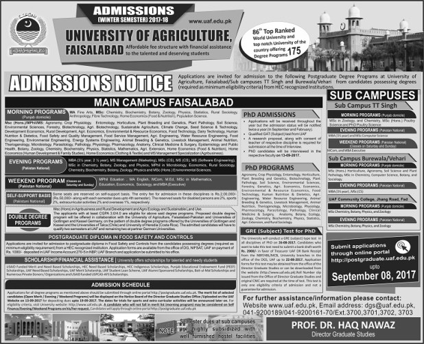 University of Agriculture Faisalabad UAF Admissions 2017 Schedule and Dates Form Download Undergraduate and Graduate Programs