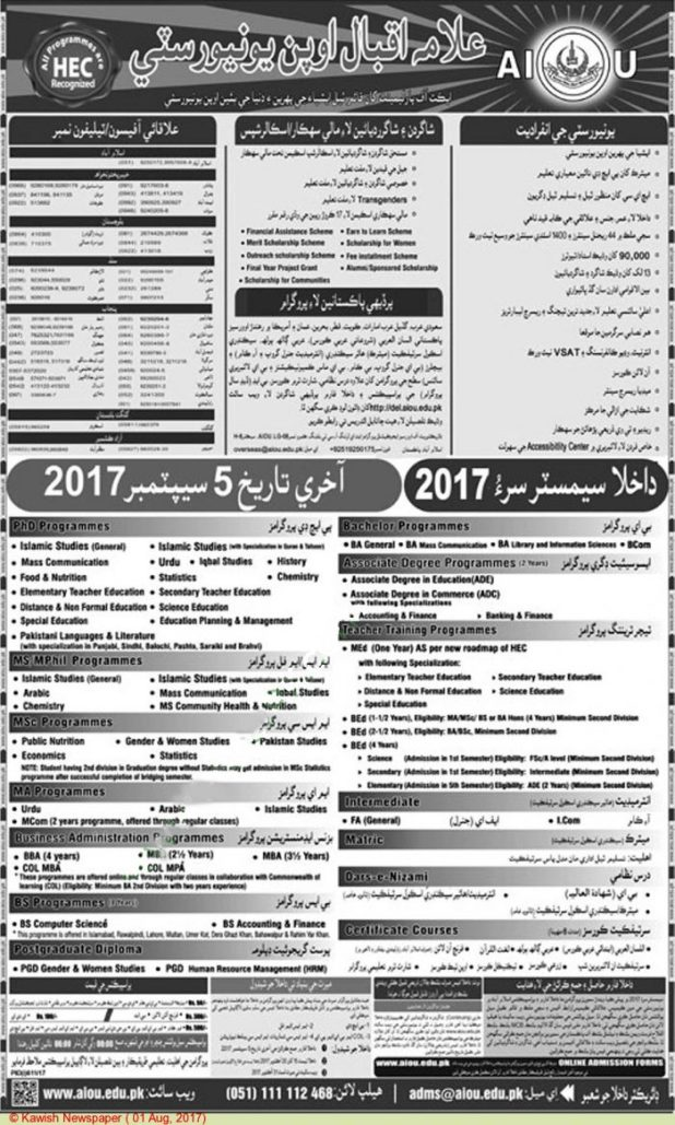 AIOU Matric Intermediate FA FSc Bachelor BA BSc MA MSc MS Mphil PhD Admission 2017 Eligibility Criteria Dates and Schedule Procedure