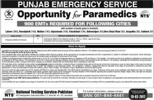 Rawalpindi Emergency Service Rescue 1122 Medical Technician Jobs 2017 NTS Test Download Registration Form