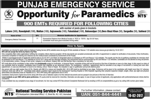 Rescue 1122 Lahore Emergency Service Jobs 2017 Medical Technician NTS Test Application Form Download
