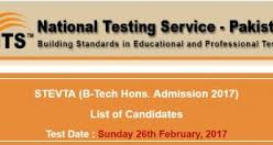 STEVTA B-Tech Hons Admission 2017 NTS Entry Test Answer Key Result Merit List