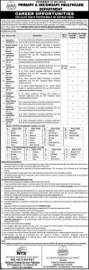 Govt of the Punjab Primary and Secondary Healthcare Department Directorate General of Health Services Jobs 2017 NTS Screening Test Dates Roll Number Slips
