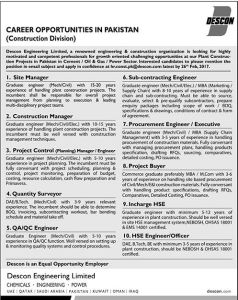 Descon Engineering Limited Pakistan Jobs 2017 How to Apply Online Eligibility Qualification Requirements