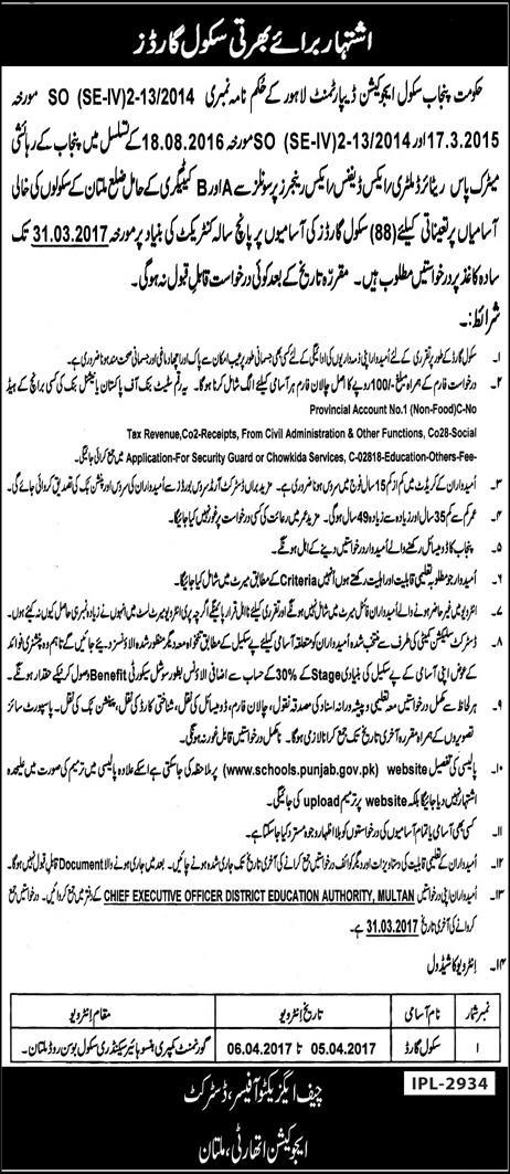 Multan Education Department School Security Guard Govt Jobs 2017 Application Form Submission Last Date Eligibility Criteria