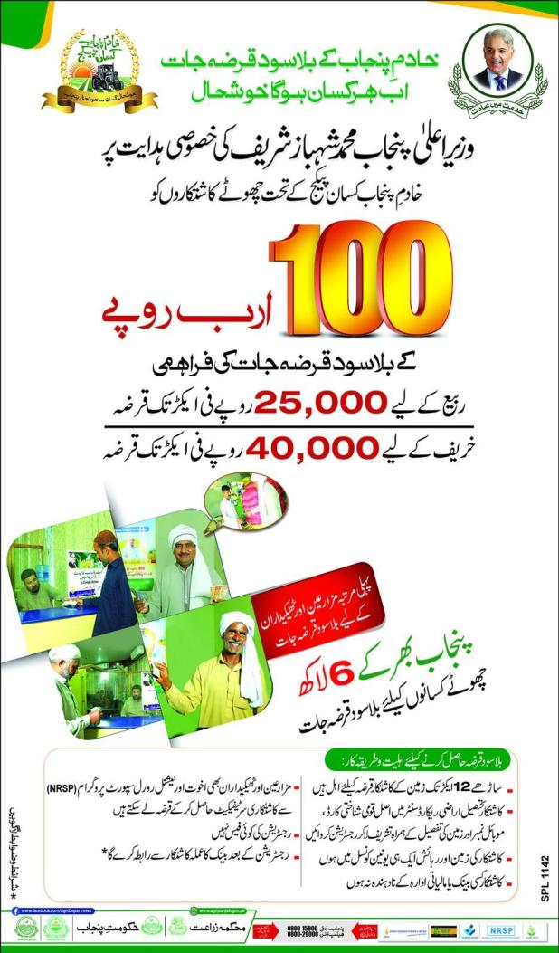 Chief Minister of Punjab Shahbaz Sharif Launches Loan Scheme 2017 For Farmers Without Interest How Apply