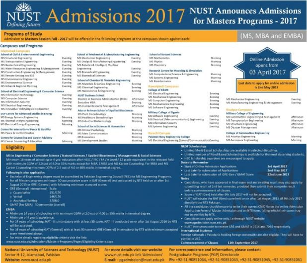 NUSTEDU National University Of Science and Technology Islamabad Admissions 2017 MS / M.PHIL 16 Years and 18 Years Programs Eligibility Criteria Last Date of Application Form Submission