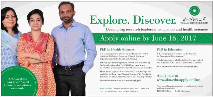 AKU KHI EDU The Aga Khan University Scholarships Need Based PhD