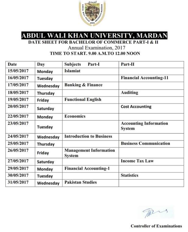 Abdul Wali Khan University Mardan Date Sheet 2017 Announced For BSc BA MSc MA BCOM MCOM AWKUM Date Sheet 2017