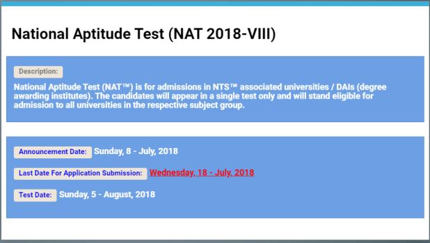 Nat Test Result 2018 Nts National Aptitude Test Result Online