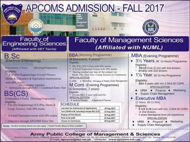 Army Public College of Management and Science Rawalpindi Admission 2017 in Electrical Mechanical Civil Application Form Procedure to Apply Engineering College in Punjab
