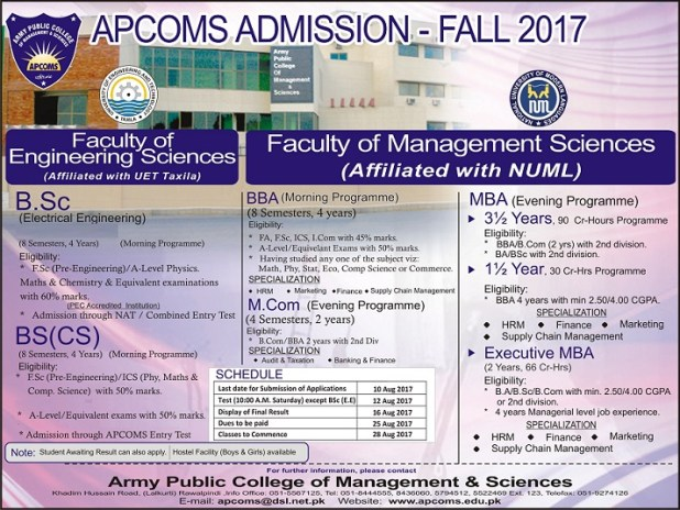 Army Public College of Management and Science Rawalpindi Admission 2019 in Electrical Mechanical Civil Application Form Procedure to Apply Engineering College in Punjab