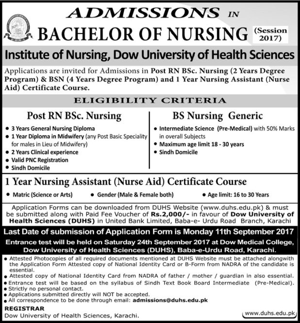 Dow University of Health Sciences DUHS Karachi Admission 2017 Application Form Eligibility Criteria Procedure