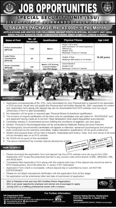 Sindh Special Unit SSU Police Jobs 2019 NTS Test