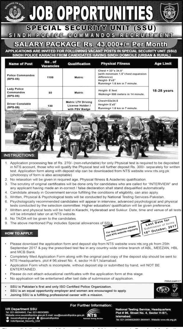 Sindh Special Unit SSU Police Jobs 2017 NTS Test