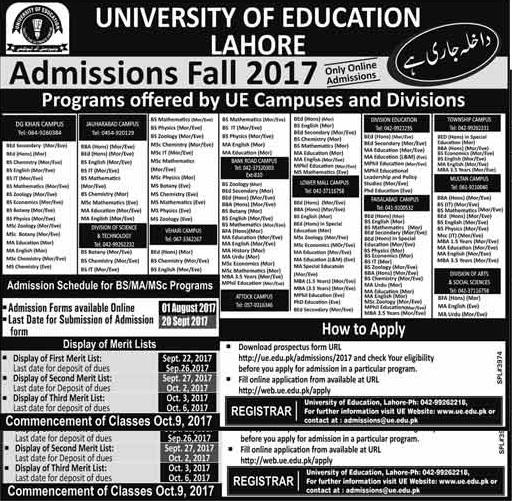 University Of Education UE Lahore Admission Fall 2017 Sub Campuses Graduate Postgraduate Online Registration