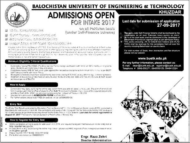 BUET Khuzdar University Entry Test Admission 2017 Dates and Schedule Merit List Engineering and Technology