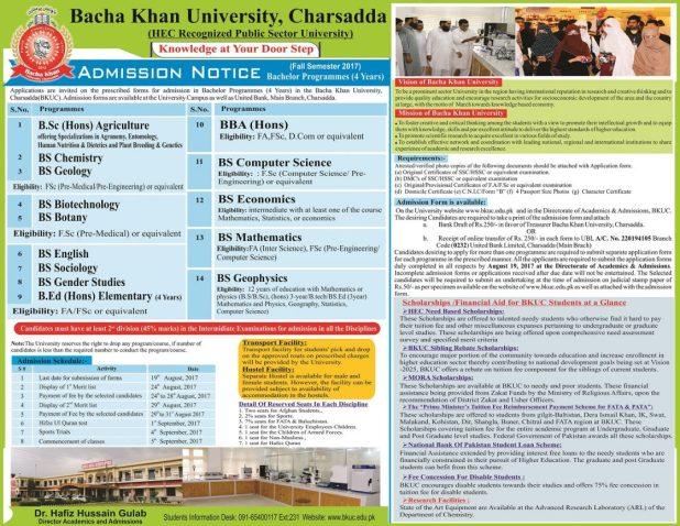 BKUC Bacha Khan University Charsadda Admissions 2017 Entry Test Dates