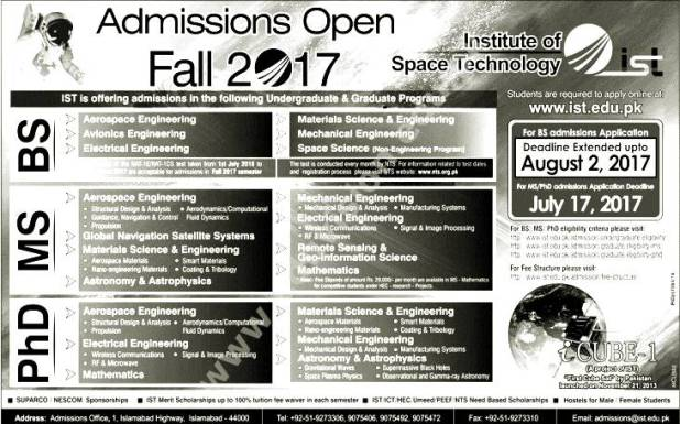 Institute of Space and Technology IST Admission Entry Test 2017 Dates & Schedule Merit List