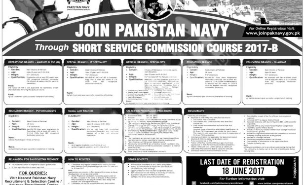Join Pak Navy Short Service Commission Courses 2017-B Vacancies Qualification Eligibility Online Registration Dates and Schedule
