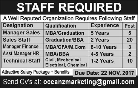Oceanz Marketing Pakistan Jobs 2017 Qualification Last Date Technical Staff & Others