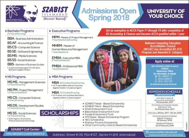 SZABIST Islamabad Admission Spring 2019 Download Application Form Entry Test