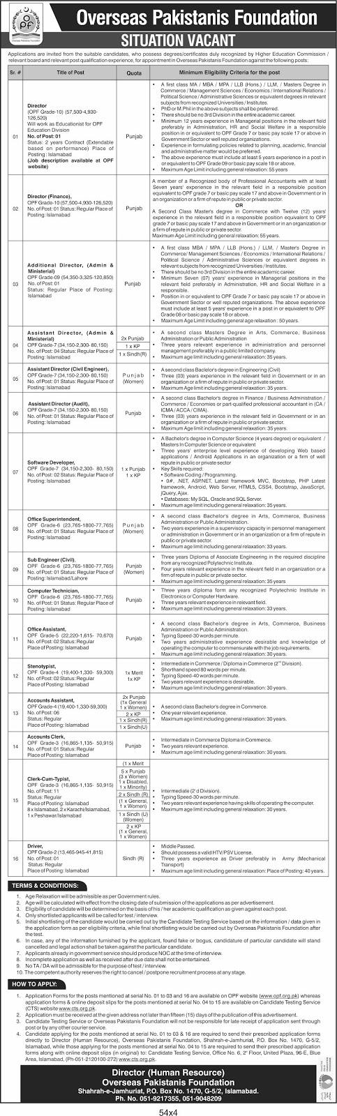 Overseas Pakistanis Foundation OPF Jobs 2020 Download Application Form