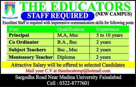 The Educators School Faisalabad Jobs 2017 Teachers & Coordinator Last Date