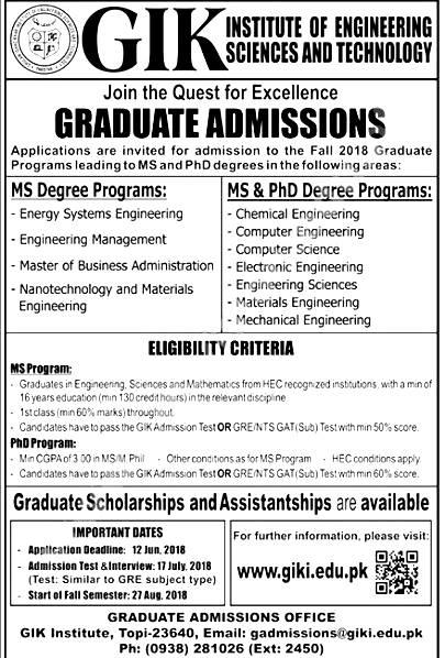 GIKI University Admission 2018 Entry Test Application Form Online