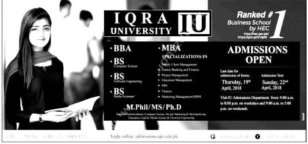 Iqra University Karachi Admission 2019 Application Form Eligibility Criteria Procedure