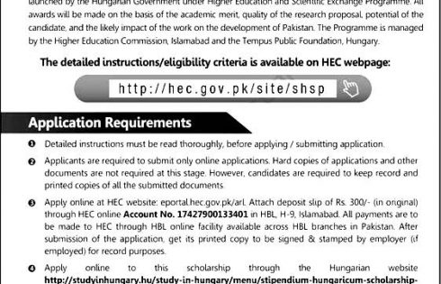 HEC Stipendium Hungaricum Scholarship Program 2018-19 Apply Online Test Roll Number Slip Answer Key Result Merit List