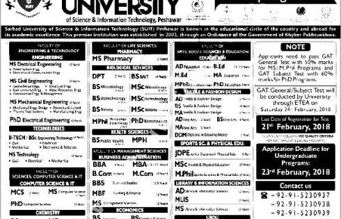 Sarhad University Science Information Technology SUIT Admission 2018