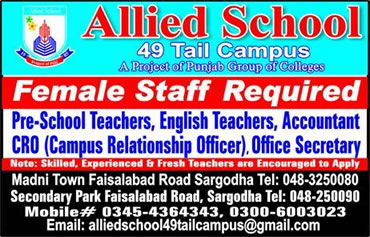 Allied School Sargodha Jobs 2017 Female Teachers Last Date Application Form