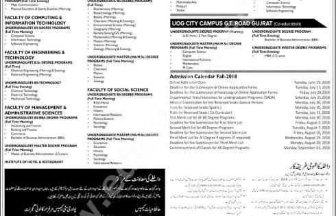 University of Gujrat Admission 2018 Fall Application Form Last Date Entry Merit List