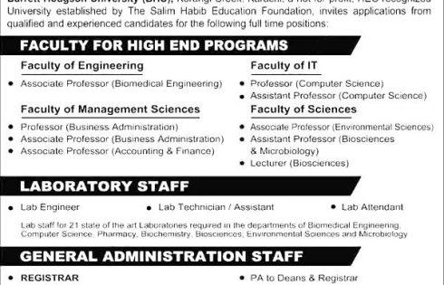 Barrett Hodgson University Karachi Jobs 2017 Last Date Application Form
